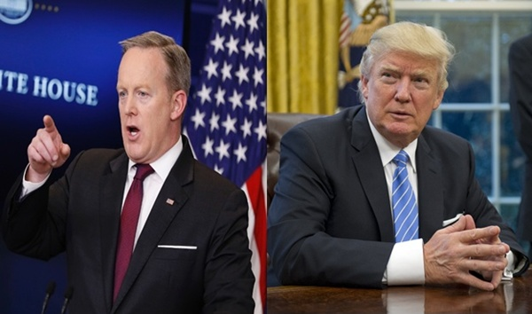donald trump and Sean Spicer