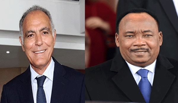 Morocco's Minister of Foreign Affairs and Cooperation, Salaheddine Mezouar, and the President of Niger, Mahamadou Issoufou