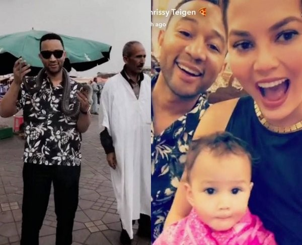 John Legend and Chrissy Teigen Vacationing in Marrakech