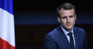 French presidential candidate Emmanuel Macron speaks about Palestine