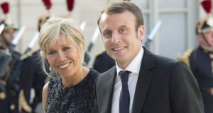 Emmanuel Macron and his wife, Brigitte Trogneux