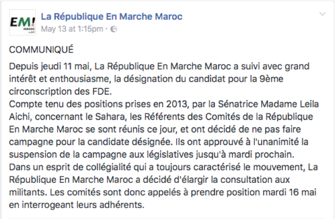 En Marche! Up a Steep Hill After Morocco Chapter Refuses to Support Aïchi