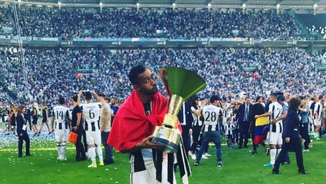 Mehdi Benatia Carries Moroccan Flag During Juventus Celebration of Calcio Title