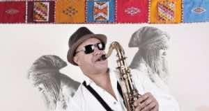 "Moroccan saxophonist Abdel Mabrouk's latest album, ""Ahwach Jazz"""