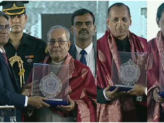 Vice Chancellor Prof. S. Ramachandram presents mementos to President of India Pranab Mukherjee, Governor of Telangana E.S. L Narasimhan and Chief Minister of Telangana K. Chandrasekhar Rao at the inaugural ceremony of Osmania University Centenary celebrations on the campus in Hyderabad, India, on Wednesday. Pic: Sakshi