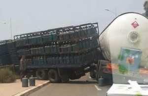 Agadir: Crash Between Two Trucks Carrying Gas