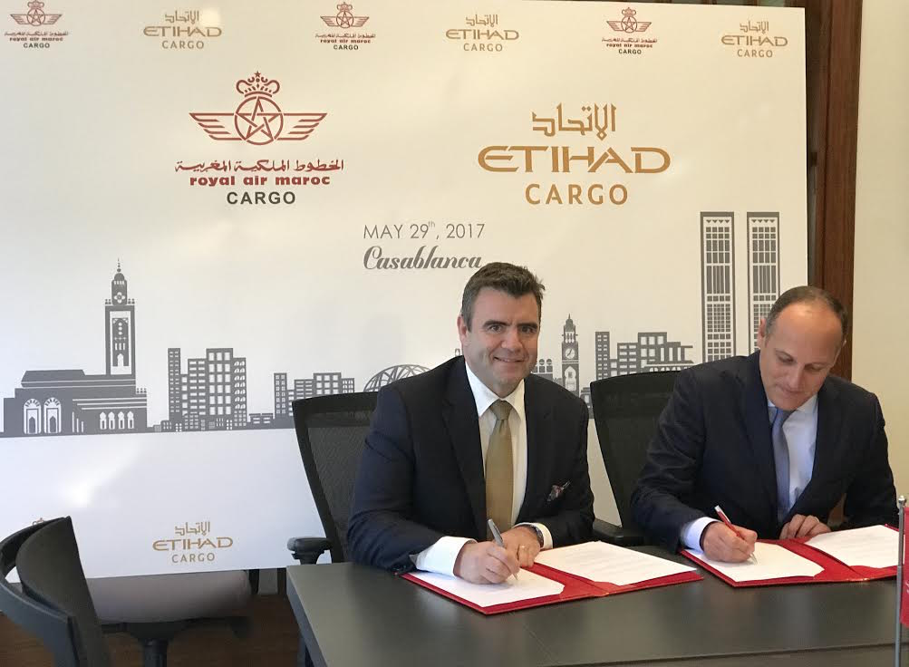 Abdelhamid Addou, Chairman and CEO of Royal Air Maroc, David Kerr, Senior Vice President Cargo of Etihad Airways