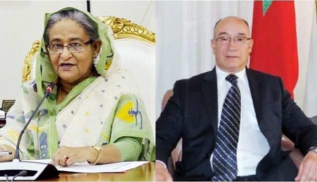 Bangladesh's Prime Minister Sheikh Hasina met the Moroccan ambassador to Bangladesh, Majid Halim
