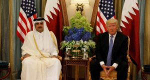 Emir of Qatar, Tamim bin Hamad al-Thani and Us president, Donald Trump