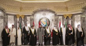 GCC Leaders, including Emir of Qatar with King Mohammed VI of Morocco