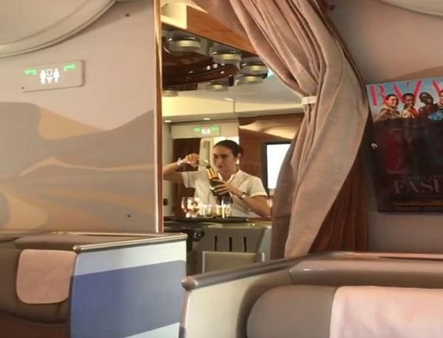 Emirates Airlines Flight Attendant Recorded Pouring Champagne Back into Bottle