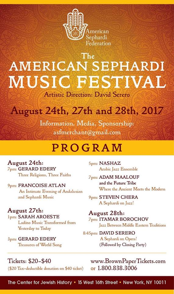 New York Sephardic Music Festival to Take Place August 24-28
