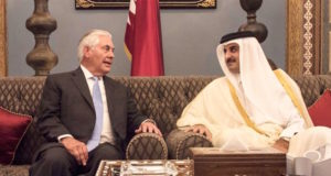 Qatar's Emir Sheikh Tamim bin Hamad Al Thani met with Tillerson on Tuesday in Doha [AP via US State Dept]