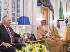 Saudi's King Salman bin Abdulaziz al Saud meeting US Secretary of State Rex Tillerson in Jeddah