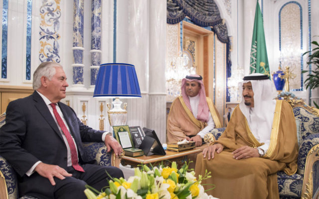 Saudi's King Salman bin Abdulaziz al Saud meeting US Secretary of State Rex Tillerson in Jeddah