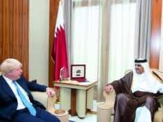 UK's foreign secretary, Boris Johnson with Qatar's Emir, Sheikh Tamim bin Hamad Al Thani