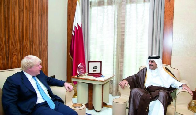 UK's foreign secretary, Boris Johnson with Qatar's Emir, Sheikh Tamim bin Hamad Al Thani