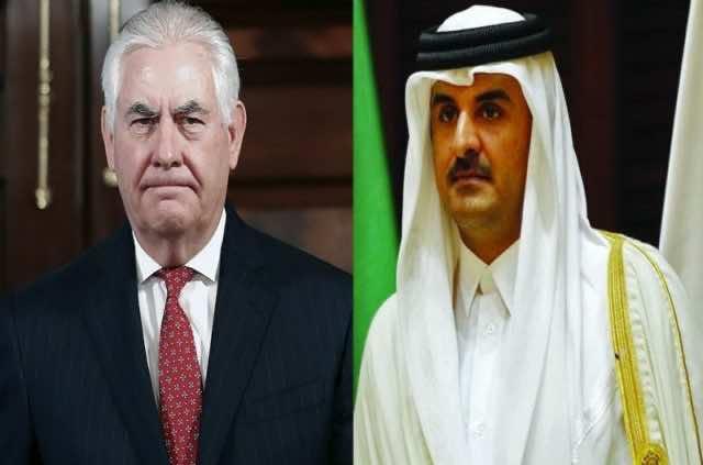US Secretary of State, Rex Tillerson and qatari emir Sheikh Tamim bin Hamad Al Thani