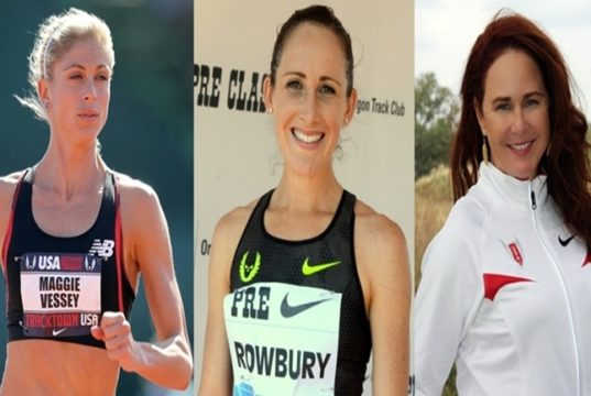 US Athletes Shannon Rowbury and Maggie Vessey and trainer Rose Monday