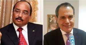 Mauritanian president Mohamed Ould Abdelaziz and Moroccan Ambassador to Mauritania Hamid Chabar
