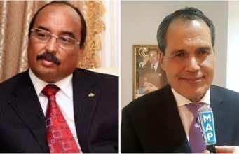Mauritanian president Mohamed Ould Abdelaziz and Moroccan Ambassador to Mauritania Hamid Chabar
