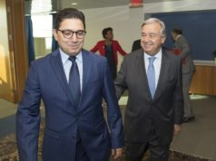Moroccan Minister of Foreign Affairs, Nasser Bourita with the United Nations Secretary General, Antonio Guterres in New York