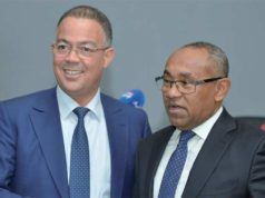 FRMF president Faouzi Lakjae (left) with CAF chief Ahmad Ahmad