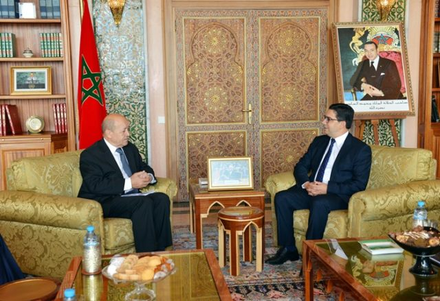 French FM Jean-yves Le Drian Meets with Saad Eddine El Othmani and Nasser Bourita in Raba