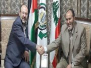 Justice and Charity Member Mohammed Hamdaoui Meets With Leading Hamas Member Ali Baraka in Lebanon