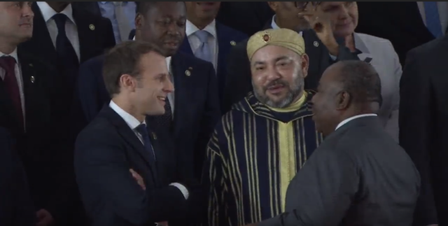 King Mohammed VI with French President Emmanuel Macron and Gabonese President Omar Bango