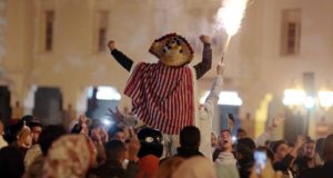 Moroccans celebrate Atlas Lions' qualification to 2018 FIFA World Cup. Atlas Lions