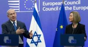 Israeli Prime Minister Benjamin Netanyahu and the European Union High Representative Federica Mogherini