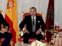 King Mohammed VI, king Felipe VI and his wife Queen Laeticia
