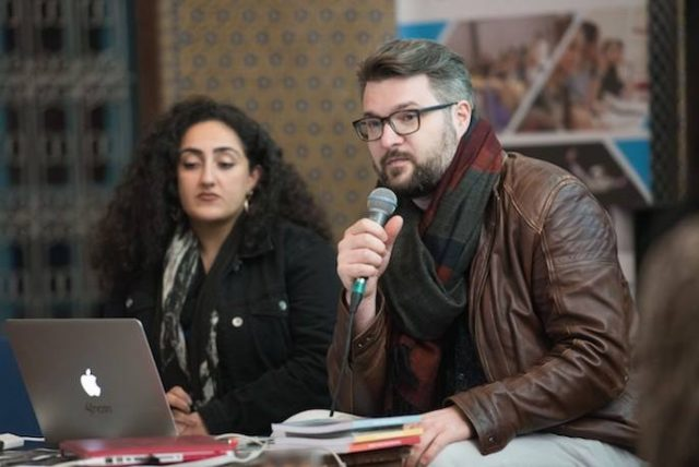 At the fez Gathering, Tina Barouti (left) moderates as panelist Benjamin Füglister discusses the CAP (Contemporary African Photography) Association and the CAP Prize, the latter which he founded. (Photo by Lauren Peterson)