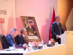 Fouzi Lekjaa during 2026 World Cup bid presentation