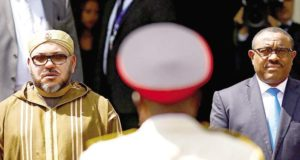 King Mohammed VI of Morocco (L) standing with Ethiopia's PM Hailemariam Desalegn