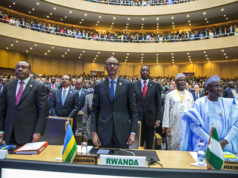 The African Union Chairperson and Rwandan president, Paul Kagame, during the announcement of the the Single African Air Transport Market