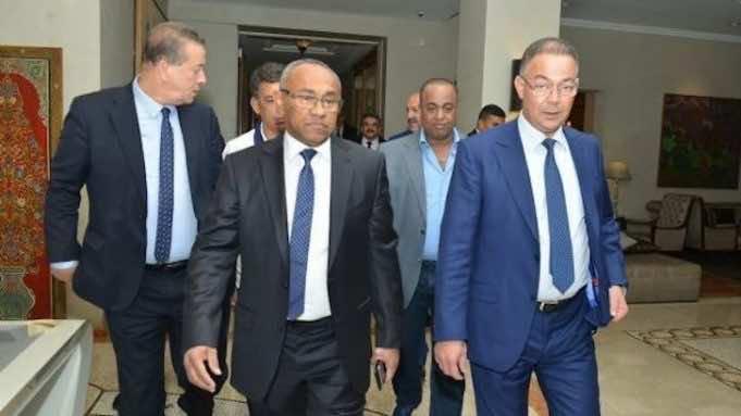 The Royal Moroccan Football Federation (FRMF) president Fouzi lekjaa with Ahmad Ahmad