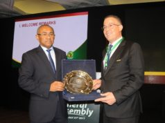 the head of the Confederation of African Football (CAF), Ahmed Ahmed, and CAF's 3rd vice president Fouzi Lekjaa. CHAN 2018