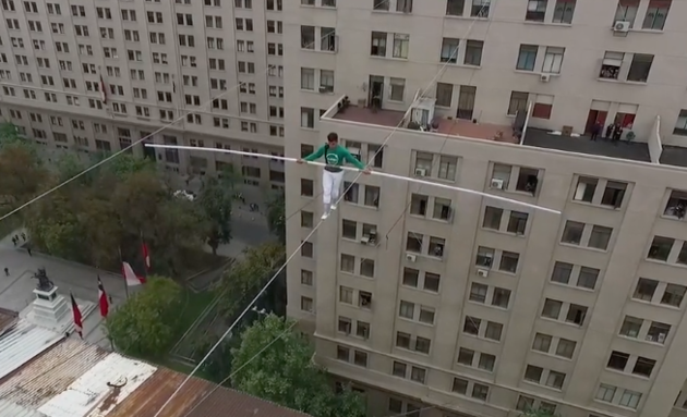 """Moroccan """"Danger"""" Tightrope Artist Walks on 75-Meter-High Cable"""