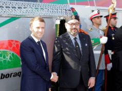 King Mohammed VI and French President Emmanuel Macron inaugurating Morocco's LGV.