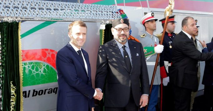 King Mohammed VI and French President Emmanuel Macron inaugurating Morocco's LGV.