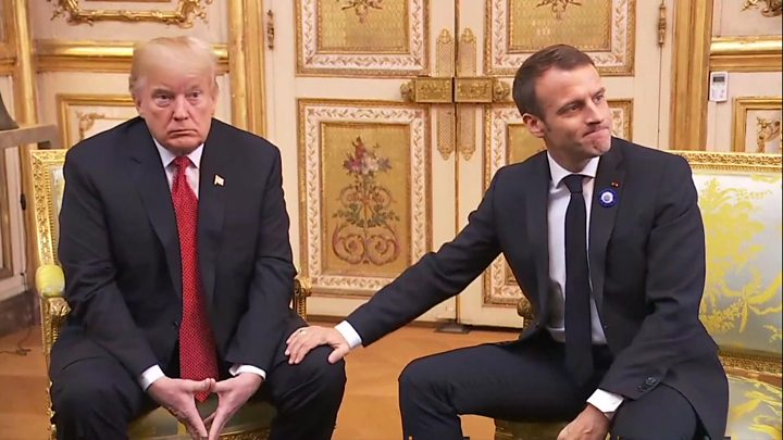 Trump fires back at European leaders after damp reception in France