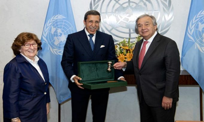 Omar Hilale Gives Guterres Moroccan Gavel from UN Migration Conference