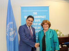 Nasser Bourita and and UN Special Representative for International Migration Louise Arbour