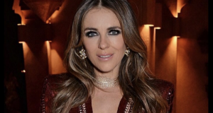 Actress Elizabeth Hurley Rocks Plunging Dress at Marrakech Auto Race