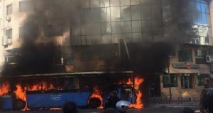 Bus Bursts into Flame in Casablanca