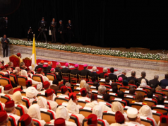 King Mohammed VI and Pope Francis visiting the Mohammd VI Institute for Training Imams. Sebastian Bouknight/ Morocco World News