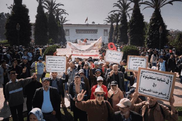 teachers protesting in Rabat