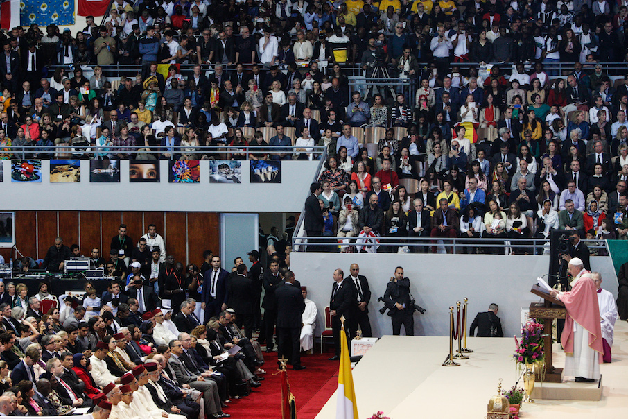 Pope Francis in Rabat Moroco during a Mass. Photo by Sebastian Bouknight: Morocco World News.